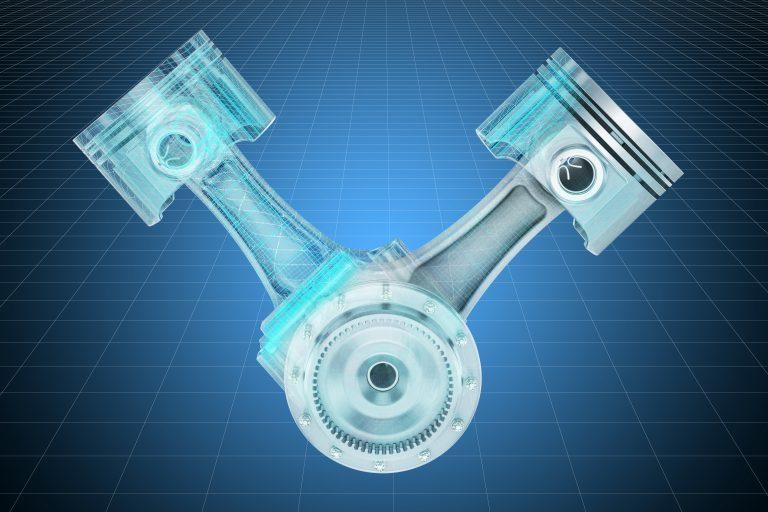 Visualization 3d cad model of V2 engine pistons, blueprint. 3D rendering